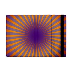 Retro Circle Lines Rays Orange Apple iPad Mini Flip Case