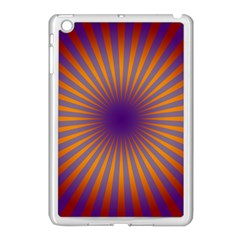 Retro Circle Lines Rays Orange Apple Ipad Mini Case (white)