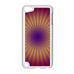 Retro Circle Lines Rays Orange Apple Ipod Touch 5 Case (white)
