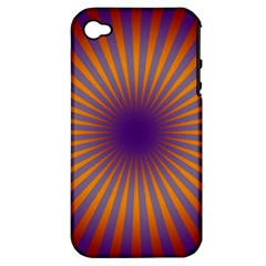 Retro Circle Lines Rays Orange Apple iPhone 4/4S Hardshell Case (PC+Silicone)