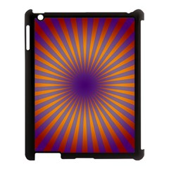 Retro Circle Lines Rays Orange Apple Ipad 3/4 Case (black)