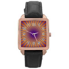 Retro Circle Lines Rays Orange Rose Gold Leather Watch
