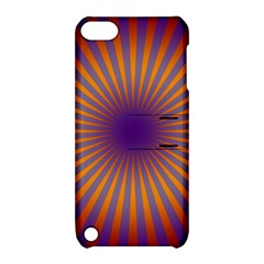 Retro Circle Lines Rays Orange Apple Ipod Touch 5 Hardshell Case With Stand