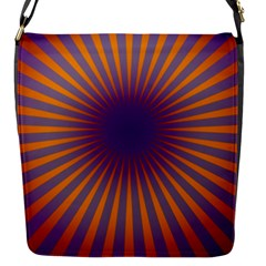Retro Circle Lines Rays Orange Flap Messenger Bag (s)