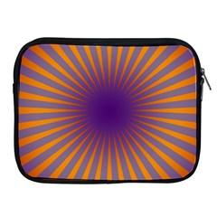 Retro Circle Lines Rays Orange Apple Ipad 2/3/4 Zipper Cases