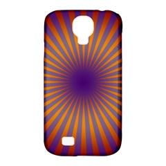 Retro Circle Lines Rays Orange Samsung Galaxy S4 Classic Hardshell Case (pc+silicone)