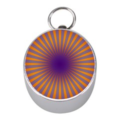 Retro Circle Lines Rays Orange Mini Silver Compasses