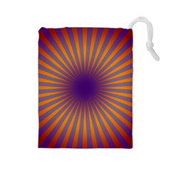 Retro Circle Lines Rays Orange Drawstring Pouches (large)