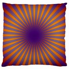 Retro Circle Lines Rays Orange Large Flano Cushion Case (two Sides)