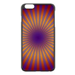 Retro Circle Lines Rays Orange Apple Iphone 6 Plus/6s Plus Black Enamel Case
