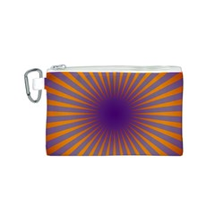 Retro Circle Lines Rays Orange Canvas Cosmetic Bag (s)
