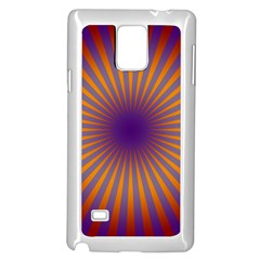Retro Circle Lines Rays Orange Samsung Galaxy Note 4 Case (white)