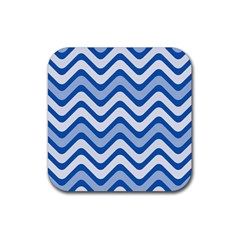 Waves Wavy Lines Pattern Design Rubber Coaster (square)