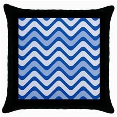 Waves Wavy Lines Pattern Design Throw Pillow Case (Black)