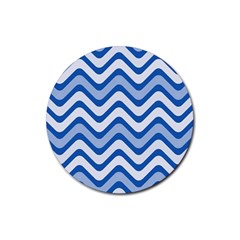 Waves Wavy Lines Pattern Design Rubber Coaster (round)
