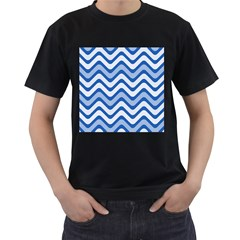 Waves Wavy Lines Pattern Design Men s T Shirt (black) (two Sided)