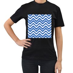 Waves Wavy Lines Pattern Design Women s T-Shirt (Black) (Two Sided)