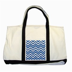 Waves Wavy Lines Pattern Design Two Tone Tote Bag