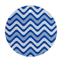 Waves Wavy Lines Pattern Design Round Ornament (two Sides)