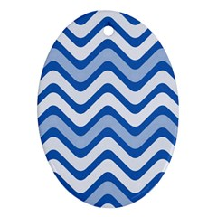 Waves Wavy Lines Pattern Design Oval Ornament (two Sides)