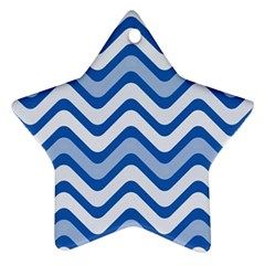 Waves Wavy Lines Pattern Design Star Ornament (Two Sides)