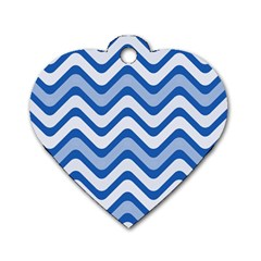 Waves Wavy Lines Pattern Design Dog Tag Heart (two Sides)
