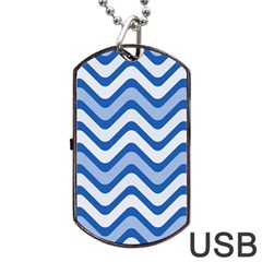 Waves Wavy Lines Pattern Design Dog Tag Usb Flash (one Side)