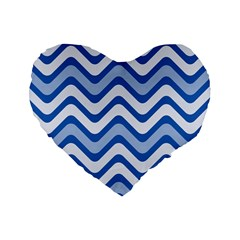 Waves Wavy Lines Pattern Design Standard 16  Premium Heart Shape Cushions