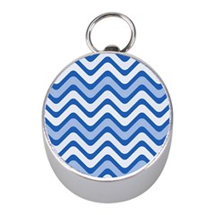 Waves Wavy Lines Pattern Design Mini Silver Compasses