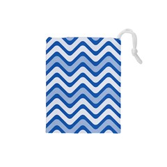 Waves Wavy Lines Pattern Design Drawstring Pouches (Small)