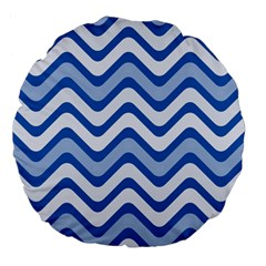 Waves Wavy Lines Pattern Design Large 18  Premium Flano Round Cushions