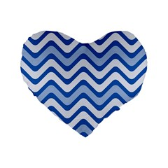 Waves Wavy Lines Pattern Design Standard 16  Premium Flano Heart Shape Cushions