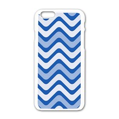 Waves Wavy Lines Pattern Design Apple Iphone 6/6s White Enamel Case