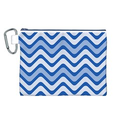Waves Wavy Lines Pattern Design Canvas Cosmetic Bag (l)