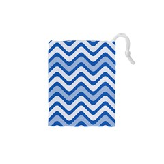 Waves Wavy Lines Pattern Design Drawstring Pouches (XS)