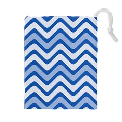 Waves Wavy Lines Pattern Design Drawstring Pouches (extra Large)