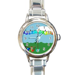 Welly Boot Rainbow Clothesline Round Italian Charm Watch