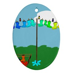 Welly Boot Rainbow Clothesline Ornament (oval)