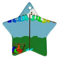 Welly Boot Rainbow Clothesline Ornament (star)