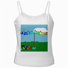 Welly Boot Rainbow Clothesline White Spaghetti Tank