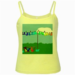 Welly Boot Rainbow Clothesline Yellow Spaghetti Tank
