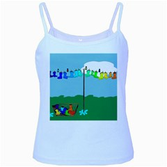 Welly Boot Rainbow Clothesline Baby Blue Spaghetti Tank