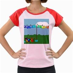 Welly Boot Rainbow Clothesline Women s Cap Sleeve T Shirt
