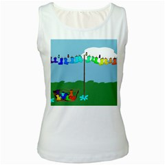 Welly Boot Rainbow Clothesline Women s White Tank Top