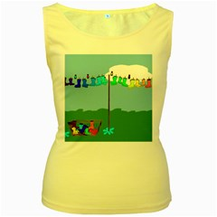 Welly Boot Rainbow Clothesline Women s Yellow Tank Top