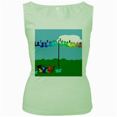Welly Boot Rainbow Clothesline Women s Green Tank Top