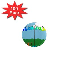 Welly Boot Rainbow Clothesline 1  Mini Magnets (100 Pack)