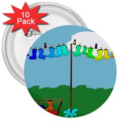 Welly Boot Rainbow Clothesline 3  Buttons (10 Pack)