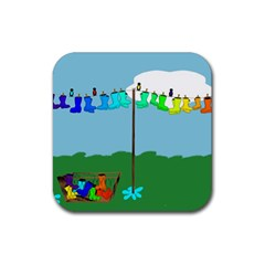 Welly Boot Rainbow Clothesline Rubber Coaster (square)