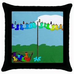 Welly Boot Rainbow Clothesline Throw Pillow Case (black)